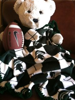 Michigan State Spartans Argyle College Fleece Football Sports Baby Blanket 30x36