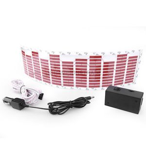 Red Car Music Rhythm LED Flash Light Sticker Sound Activated Equalizer Decor New