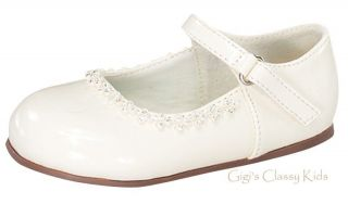 New Baby Toddler Girls Ivory Dress Shoes Mary Jane Baptism Pageant Christening