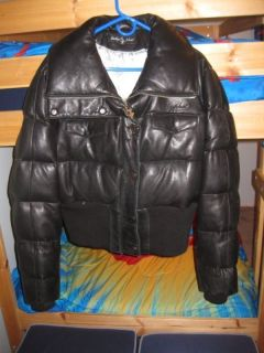Baby Phat Black Genuine Leather Bomber Jacket Puffer Size 2XL