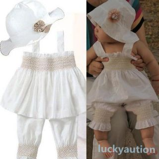 Baby Ruffled Top Pants Hat Set 3 Pieces Outfit Costume Girls Kids Clothes 0 3Y