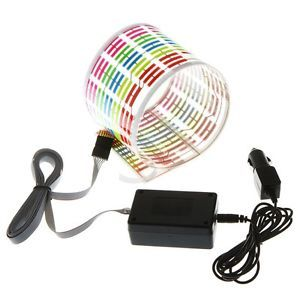Flash Car Sticker Music Rhythm LED El Light Lamp Sound Activated Equalizer Mini