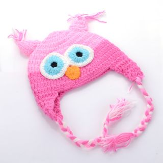 Baby Boy Girl Animal Owl Child Photo Crochet Knit Costume Hat Cap Prop Pigtails