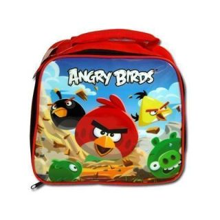 "Lunch Bag Insulated Angry Birds Red Black Yellow and Pigs 9""x8""x3"" New"