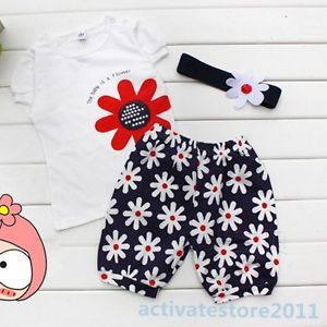 Baby Girls 3pcs Set Flower Headband Tops Pants Shorts Outfits Clothes 0 3 Year