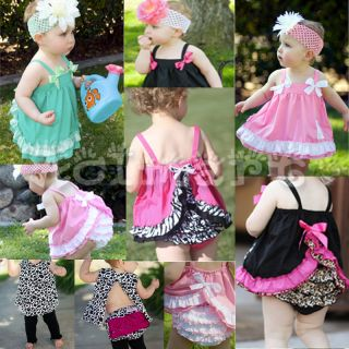 Baby Girl Cotton Ruffle Top Dress Pants Set Bloomers Nappy Diaper Covers s M L