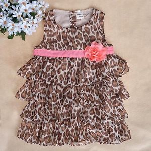 Baby Kids Toddler Girl Dress Clothes Pettiskirt Tutu Skirt Leopard 2 3Year NS16