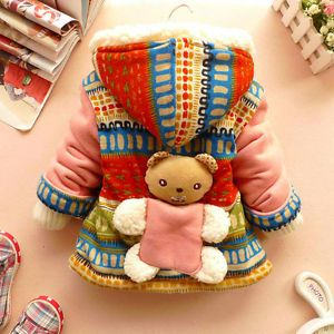 Cute Baby Girls 3D Bear Winter Warm Jacket Gown Clothing Kids Coat Clothes PhD