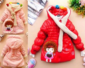 Baby Girls Winter Warm Jacket Coat Hoody Gown Kids Outerwear Clothing 2 6 Year