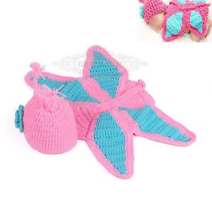Newborn Baby Girl Infant Pink Butterfly Knit Crochet Clothes Photo Prop Outfit