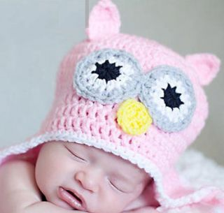 Cute Handmade Crochet Owl Beanie Cap Hat Girl Boy Baby Newborn Infant Toddle