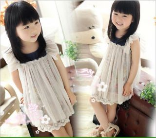 Girls Toddler Ruffle Sleeve Flower Print Grenadine Kids Formal Dress Party Skirt