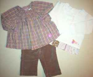 Baby Girl Clothes 3 Piece Lot 2 Tops 1 Pants TCP Koala Kids Carters 6 9