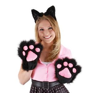 Cute Kitty Paws Gloves Cat Costume Adult or Child Black