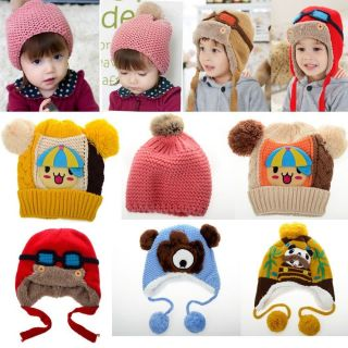 New Warm Toddler Boy Girl Kids Cute Handmade Cap Wool Knitted Winter Beanie Hats