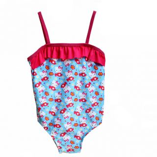 New Sanrio Hello Kitty Baby Girls Sweet Garden Ruffle Trim 1pc Swimsuit 3T 4T 5T