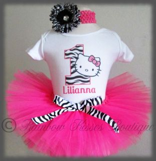 1st Birthday Hello Kitty Tutu Outfit Set with Matching Headband