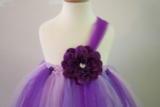 Baby Girls Tutu Dress Skirt Purple Flower Glitter Pageant Flower Infant Size 8