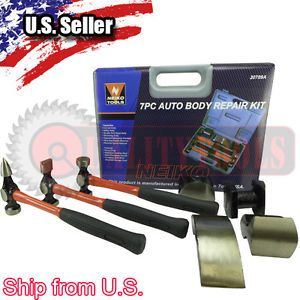 7pc Auto Body Repair Hammer Punch Tools Heavy Duty Shop Supplies Tool Kit