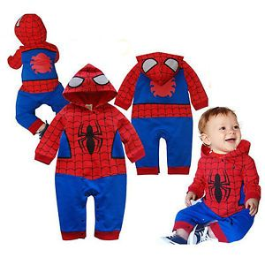 Boy Kid Clothes Hoodie Spiderman Romper Costume Baby Toddler Jumpsuit OUTFIT1 3Y