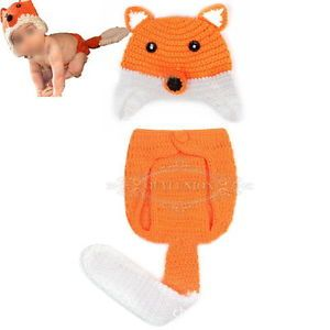 Newborn Infant Baby Girl Boy Knit Crochet Fox Hat Pant Clothes Photo Prop Outfit