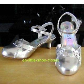 Silver Baby Toddler Pageant Crowning Dress Sandal Shoes Girl's Size 11 12