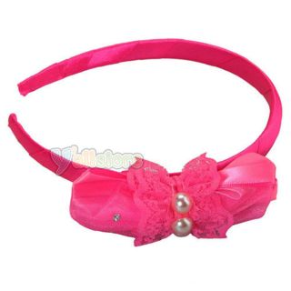 Baby Kids Girl Lace Headband Hairband Hair Hoop with Pearl Bowknot Rose