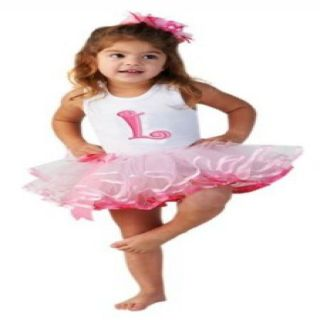 "Mud Pie Baby Girl Initial ""L"" Pink Tutu Dress 12 18 Months Free US Shipping"