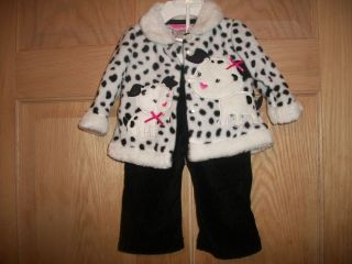 New Baby Girls Winter Faux Fur Jacket Two Piece Outfit Size 3 Months
