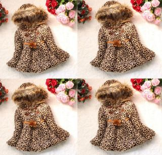 Baby Girl Toddler Faux Fur Leopard Hoody Clothes Kids Winter Jacket Clothing