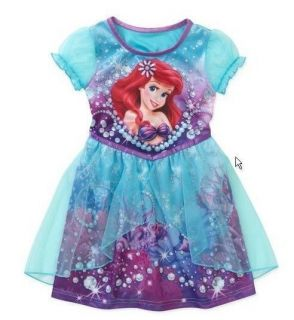 Disney Princess Ariel Nightgown Pajamas Baby Girl Dress Size 3T 4T 5T