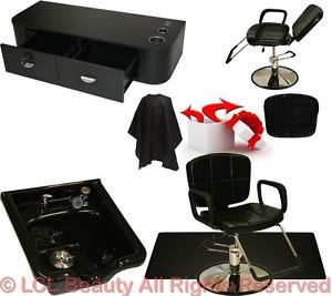 Hydraulic Reclining Barber Chair Mat Styling Station Bowl Beauty Salon Equipment