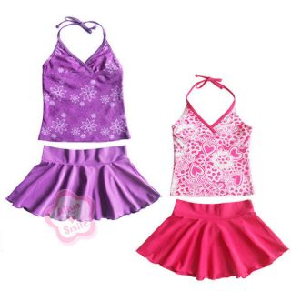 UPF 50 Girl 3pc Swimsuit Kid Tankini Swimwear Skirt Swimming Costume 5 9 Years