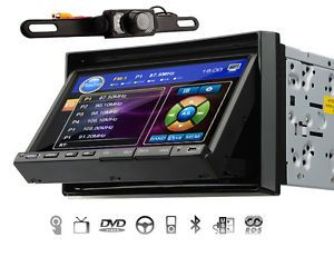 "Double 2 DIN 7"" LCD Car Stereo DVD CD  Player USB Bluetooth iPod Radio Camera"