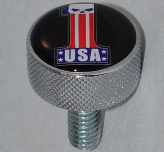"Show Chrome Billet Aluminum ""Skull USA 1"" Polished Knurled Seat Bolt for Harley"