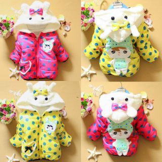 Boy Girl Kid Winter Jackets Baby Teddy Bear Hoodie Fleece Coat Outerwear 1T 3T