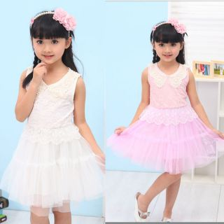 Kid Baby Girl Ball Gown Tutu Lace Dress Pearl Tulle Ruffled Collar Bubble Skirt