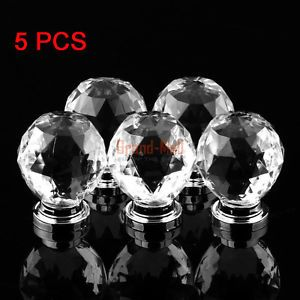 5X Clear Crystal Ball Handle Furniture Cabinet Drawer Pull Handle Acrylic Handle