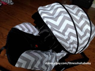 Boy Chevron Gray Black Infant Car Seat Canopy Cover Fit Most Infant Car Seat