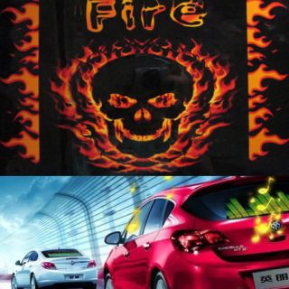 45cm Skull Car Sticker Sound Music Activated Equalizer Glow Light