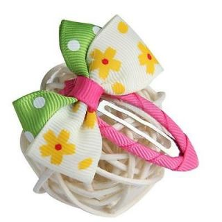 5 Lot Baby Girl Toddler Hair Bows Clips Flowers Ribbon