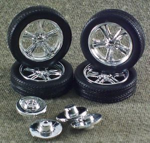 1 25 Scale Model Car Parts Junk Yard Low Profile Tires with Custom Wheels