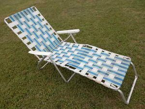 Vtg Retro Aluminmum Frame Webbed Folding Chaise Lounge Lawn Chair Plastic Arms