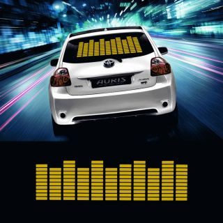 45 11cm Yellow Car Sticker Music Rhythm LED Flash Lamp Sound Activated Equalizer