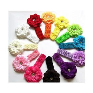 12pcs Peony Kid Baby Girl Headband Hairband Hairbow Hair Flower Clip Headwear