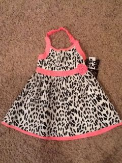 Size 3T Baby Girl Pink Black White Cheetah Leopard Dress