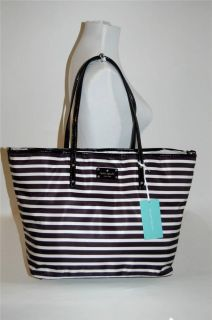 Kate Spade Baby Black White Stripe Harmony Diaper Tote Bag Nylon WKRU2213
