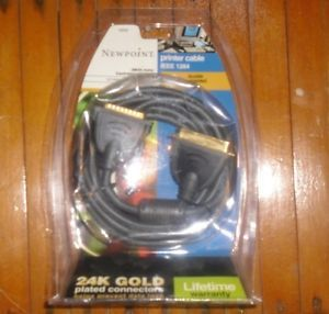 Newpoint Parallel Port Printer Cable DB25 Male CN36 Male 12 ft Gray Gold Plated
