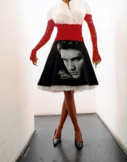 Elvis Presley Classic Photo Print Rockabilly Satin Petticoat Skirt Made in USA