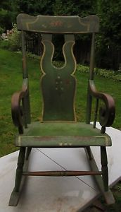 Superb Antique Pennsylvania Paint Decorated Rocking Chair Circa 1850